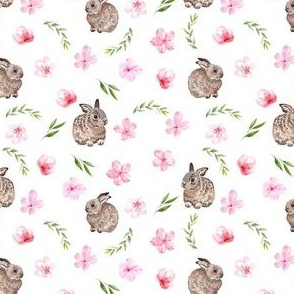 SMALL - baby bunny fabric - easter egg fabric, easter fabric, cherry blossom fabric, easter floral fabric - white
