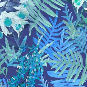 Orchids + Ferns Blue on Indigo 150