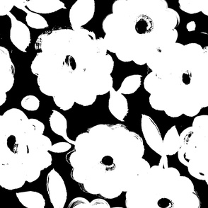 Painted Flowers-black and white
