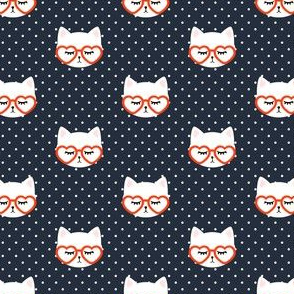 (small scale) cats with heart shaped glasses - cute valentines day kitty - red on dark blue - LAD19BS