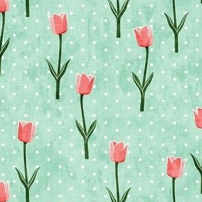 Tulips - spring flowers - pink on aqua with polka dots - LAD19