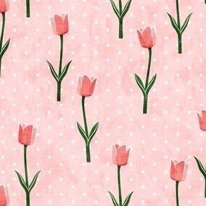 Tulips - spring flowers - pink with polka dots - LAD19