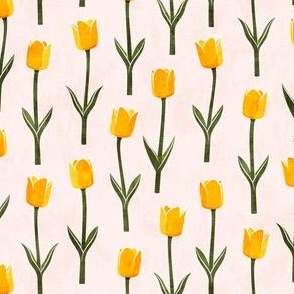 Tulips - spring flowers - yellow on light pink - LAD19