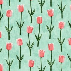 Tulips - spring flowers - pink on aqua - LAD19