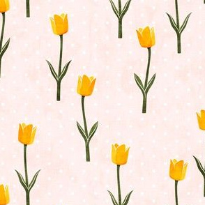 Tulips - spring flowers - yellow on light pink with polka dots - LAD19