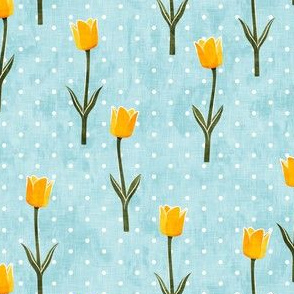 Tulips - spring flowers - yellow on blue with polka dots - LAD19