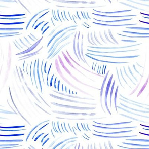Watercolor brush stroke blue waves ★ painted strokes for modern home decor, bedding, nursery
