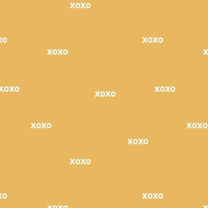 Sweet love and kisses xoxo minimal text design valentines day yellow