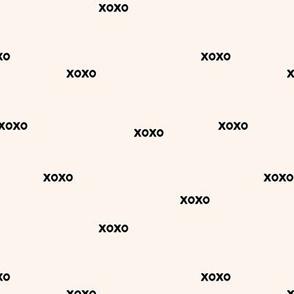 Sweet love and kisses xoxo minimal text design valentines day off white black monochrome nursery