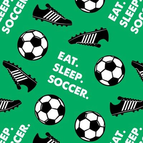 Eat Sleep Soccer - Soccer ball and cleats - green - LAD19