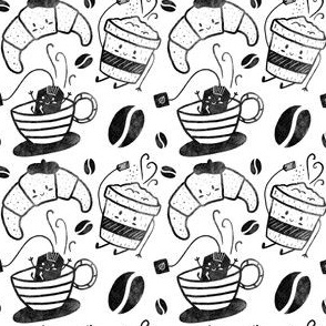 Coffee, tea and croissants for everyone! - Black&White