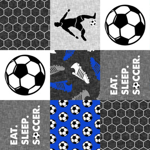 Eat. Sleep. Soccer - mens/boys soccer wholecloth in blue - patchwork sports (90) - LAD19