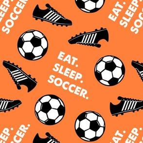 Eat. Sleep. Soccer. - Soccer ball and cleats - orange - LAD19