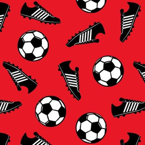 Soccer balls and cleats - red - soccer gear - LAD19