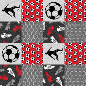 Soccer Patchwork - mens/boys soccer wholecloth in red - sports (90) - LAD19