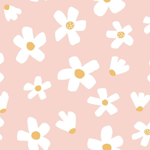 Medium // Daisy garden Pink and Mustard floral girls Pantone