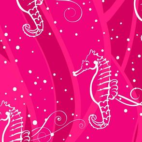 Seahorses Sing Jumbo | White on Pink