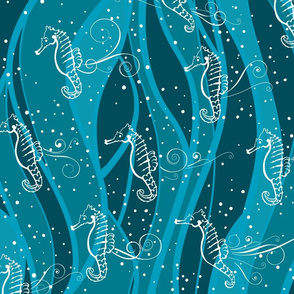 Seahorses Sing  | White on Teal