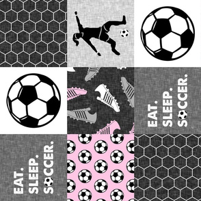 Eat. Sleep. Soccer. - womens/girl soccer wholecloth in pink - patchwork sports (90) - LAD19