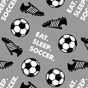 Eat Sleep Soccer - Soccer ball and cleats - grey - LAD19