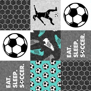 Eat. Sleep. Soccer. - womens/girl soccer wholecloth in teal - patchwork sports (90)- LAD19