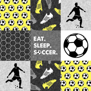 Eat. Sleep. Soccer. - mens/boy soccer wholecloth in yellow - patchwork sports (90) - LAD19