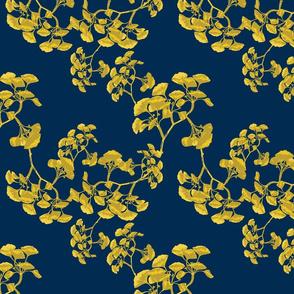 Ginkgo Vines in Blue