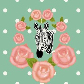Zebra head and roses