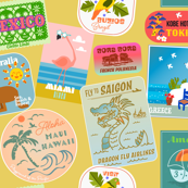 Vintage Travel Stickers- Sunny Yellow