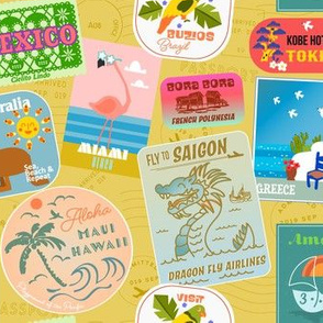 Vintage Travel Stickers- Yellow Mellow