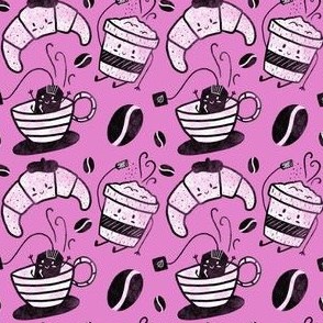 Coffee, tea and croissants for everyone! - Hot pink