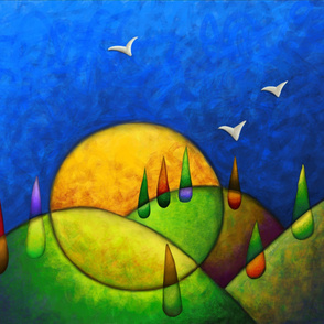 Abstract painting challenge - Birds over the hills