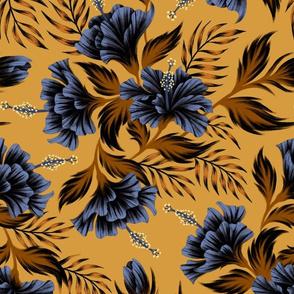Hibiscus Floral - Mustard Navy