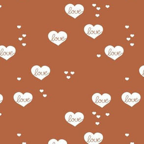 Little love & hearts valentine romance rust copper brown