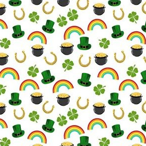 SMALL - st patricks day fabric - leprechaun fabric, pot of gold, lucky fabric, luck of the irish fabric, rainbow fabric - white
