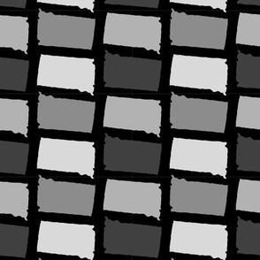 South Dakota State Shape Pattern Black and White