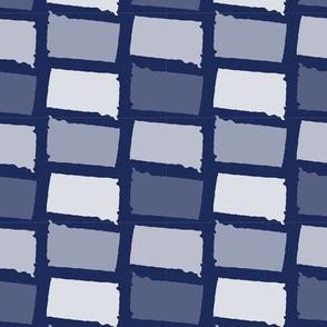 South Dakota State Shape Pattern Dark Blue and White