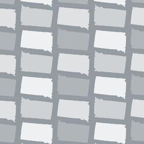 South Dakota State Shape Pattern Grey and White