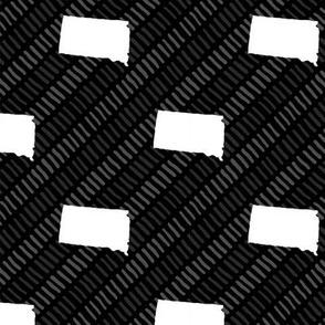 South Dakota State Shape Pattern Black and White Stripes