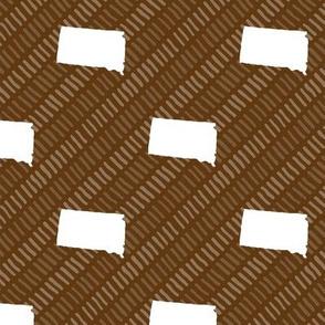 South Dakota State Shape Pattern Brown and White Stripes
