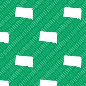 South Dakota State Shape Pattern Green and White Stripes