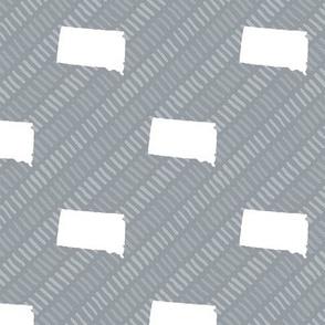 South Dakota State Shape Pattern Grey and White Stripes
