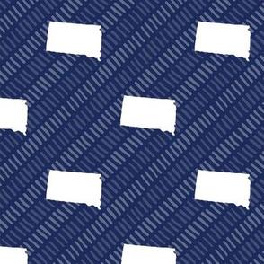 South Dakota State Shape Pattern Dark Blue and White Stripes