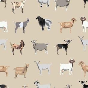 goats fabric - goat wallpaper, goat fabric, goat breeds, farm, farm animals fabric -  tan