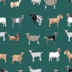 goats fabric - goat wallpaper, goat fabric, goat breeds, farm, farm animals fabric -  green