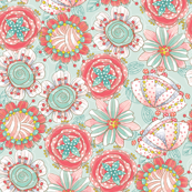 Funky Abstract Floral-teal-large
