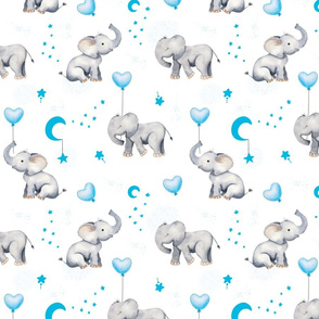 blue stars and balloons baby elephant