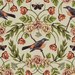 In The Garden - Nature Pattern w/ Birds, Flowers & Moths