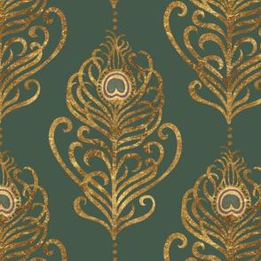 Golden Art Nouveau Peacock Feather-Emerald-XL