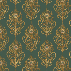 Golden Art Nouveau Peacock Feather-Emerald-Medium